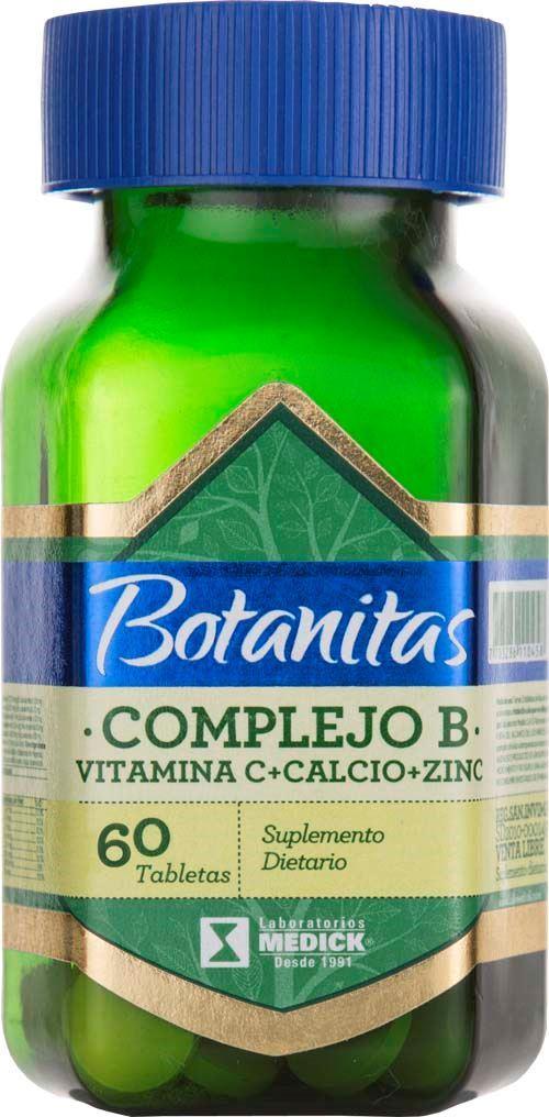 COMPLEJO B + VITAMINA C + CALCIO +ZINC FRASCO * 60 TABLETAS