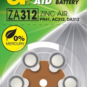 PILA AUDITIVA GP ZA312 ZINC AIR 1.4 V 125 MAH BLISTER X6