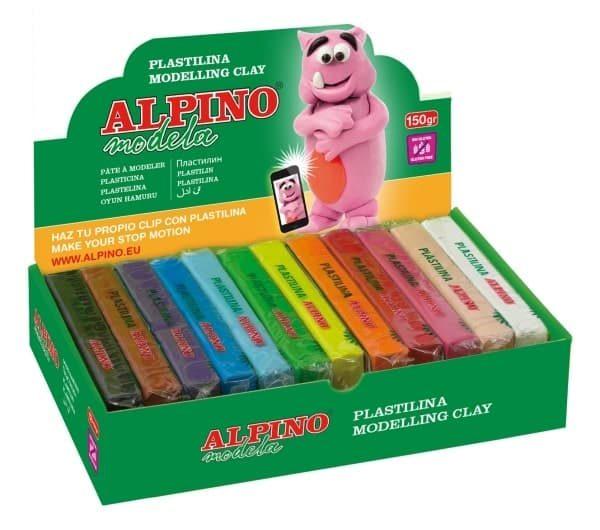 Caja de 12 unidades de plastilina en barra en colores surtidos.