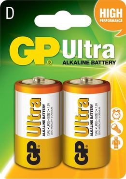 PILA ALCALINA GP ULTRA D 1.5V BLISTER X2